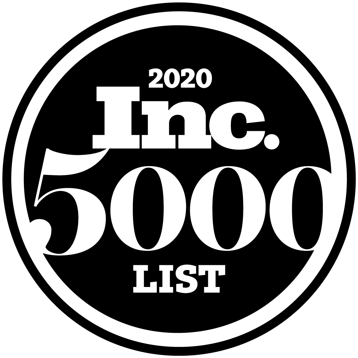 a black circle loco for the 2020 Inc. 5000 List. It has Inc. 5000 List in white on the inner circle and a black circle framing the logo